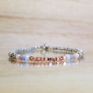 Rose Gold & Agate Beaded Toggle Bracelet